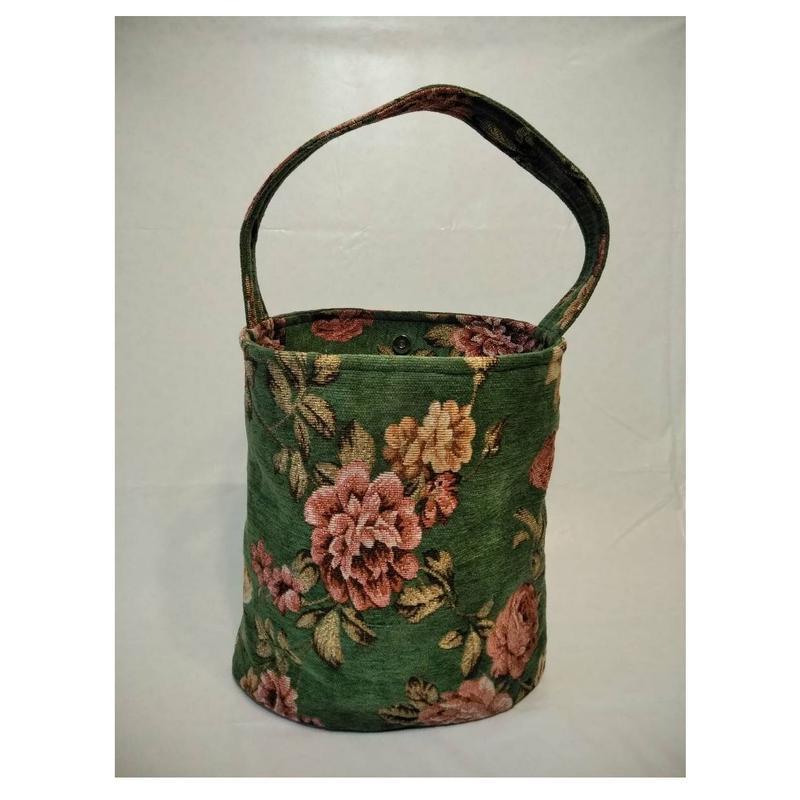 ゴブラン調花柄楕円柱型バッグ