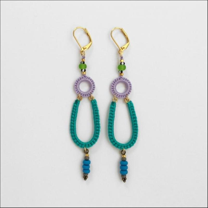 Ramza(single) pierce/earring emerald*lavender