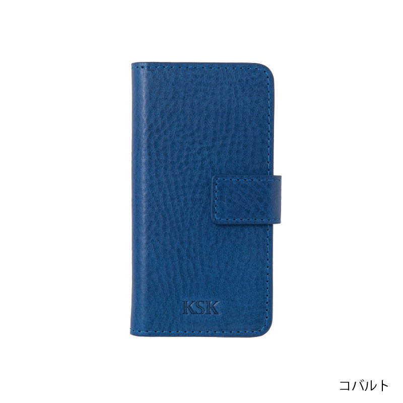 KSK手帳型ケースロゴ:iPhoneX(キャメル/コバルト/レッド/ブラック)