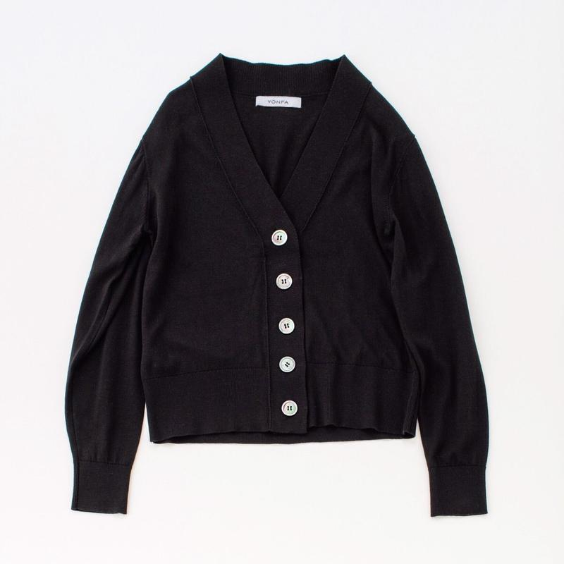 【受注販売】V cardigan (black)
