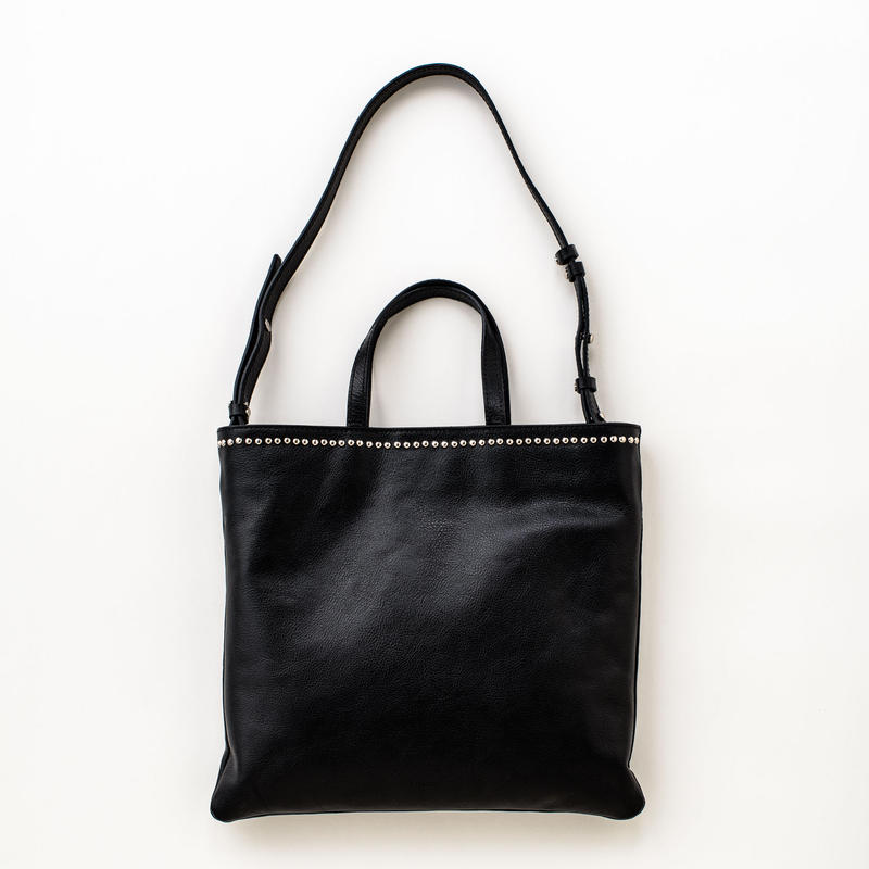 studs leather tote (black)