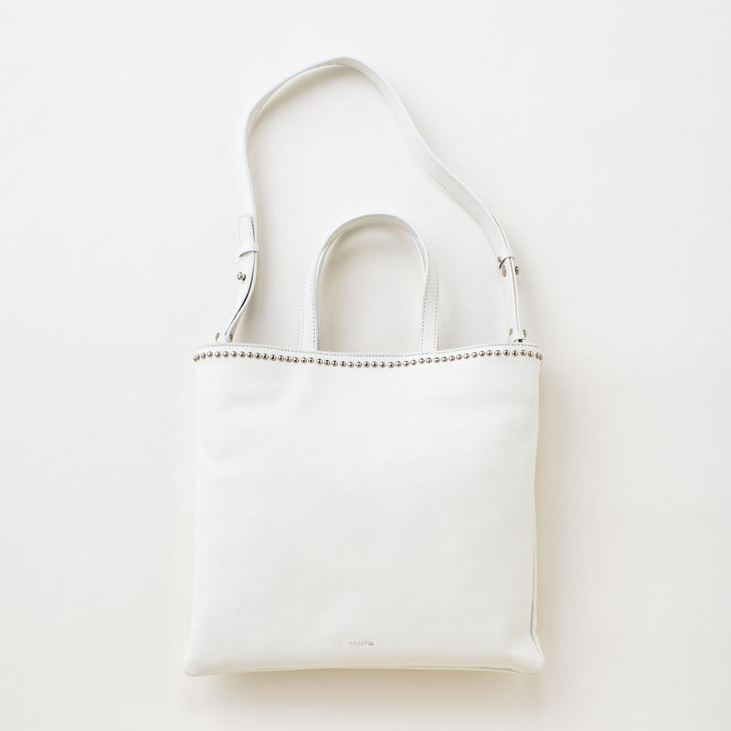 studs lether tote (white)