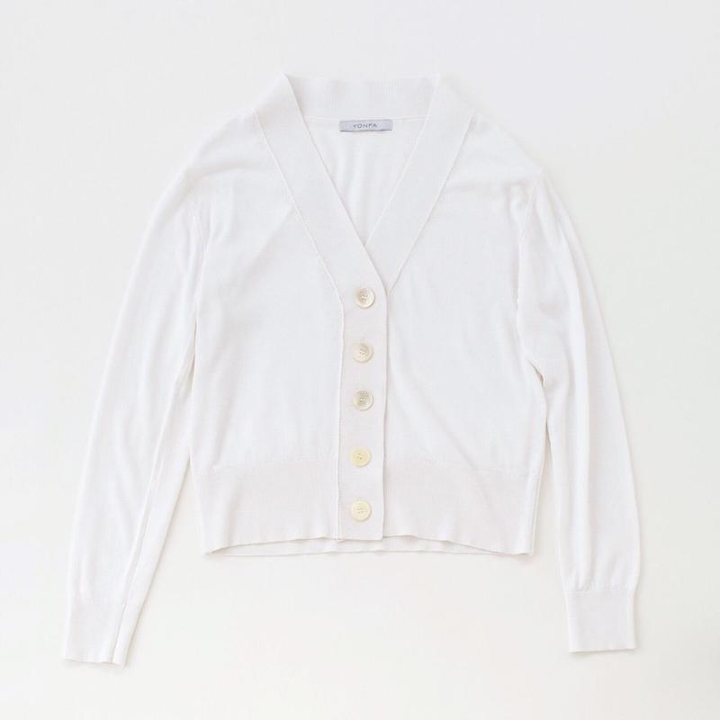 【受注販売】V cardigan (white)