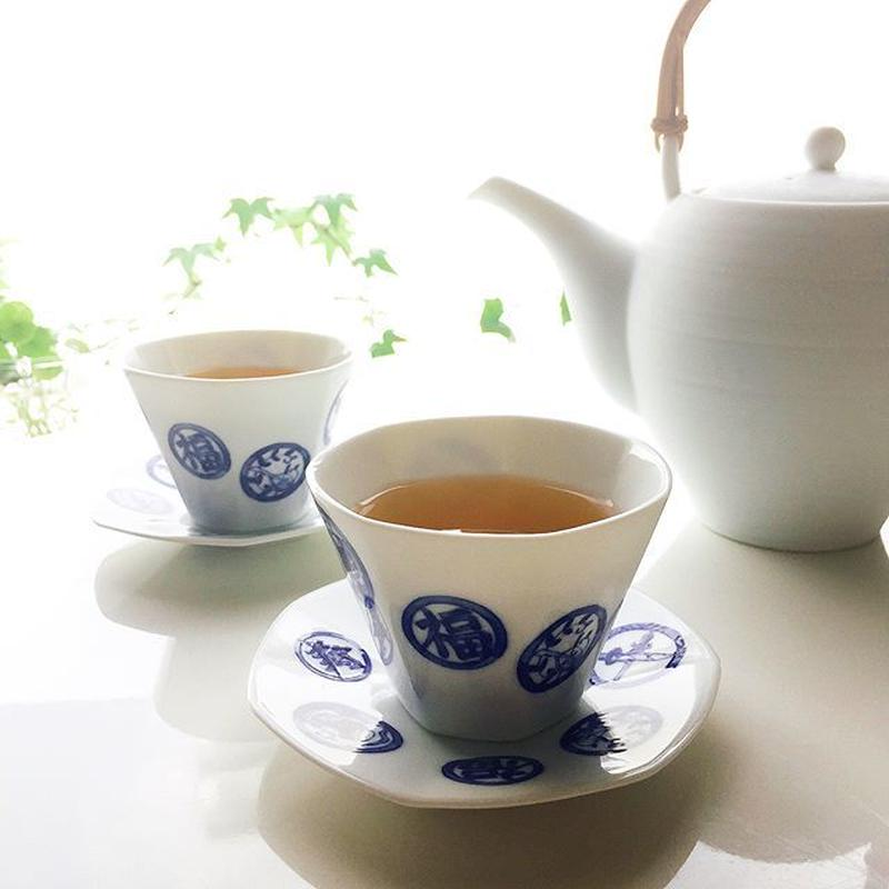 Miyama 磁器湯呑&茶托【7 HAPPY】