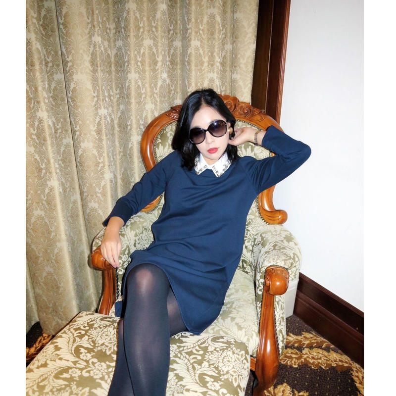 ◆2月28日まで10%OFF◆ビジュー襟の才色兼備ワンピース【襟元ビジュー高級感あり】