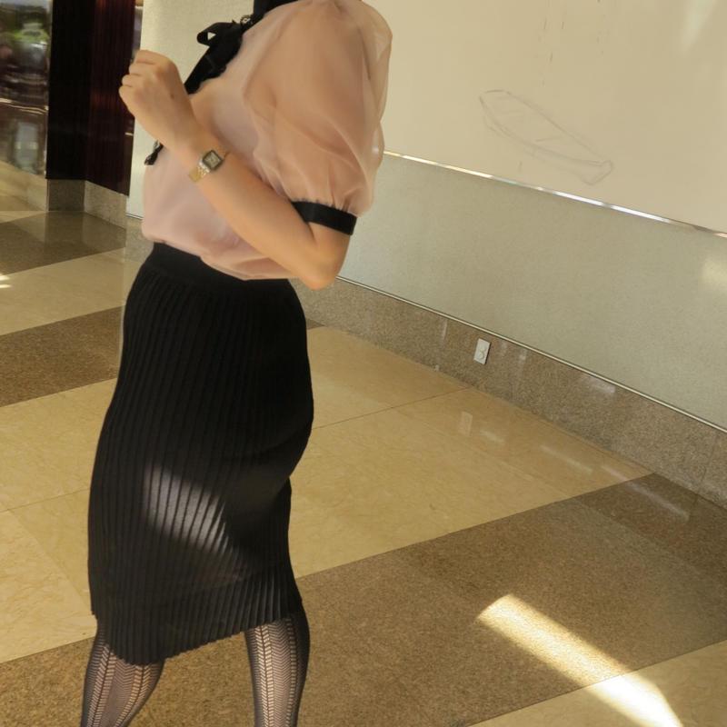 高級ニットタッチスリムメイキングスカート(BLACK)