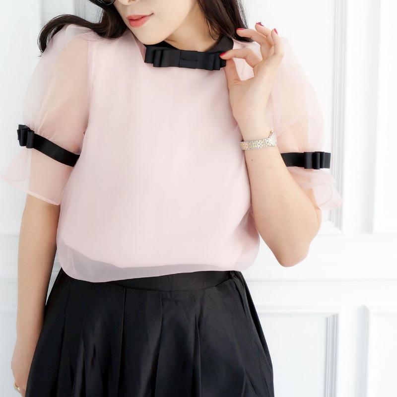ロマンチックシースルーブラウス【ピンク】
