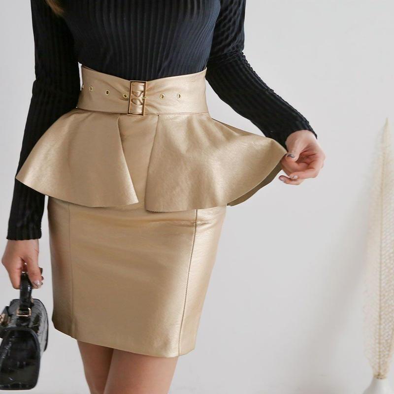 【細く魅せてお腹カバー】ウエストくびれレースカート【デートに♡ビジネスシーンに♡】