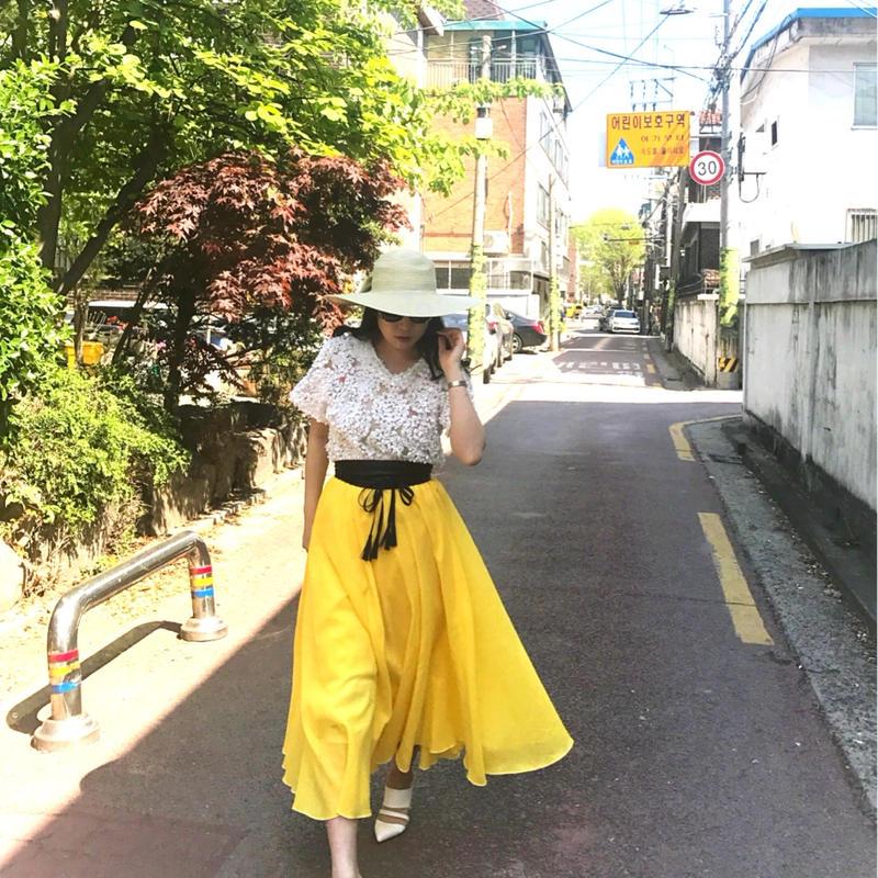 マドモアゼルコットンゴムスカート【サンシャイン】