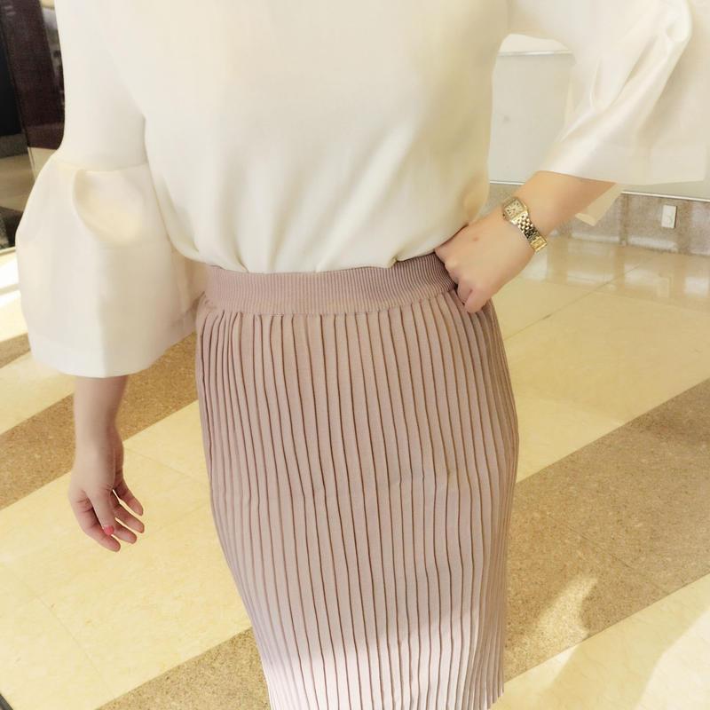 高級ニットタッチスリムメイキングスカート(SAKURA)