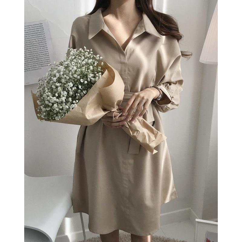 ◆1月22日インスタライブにてユヒャン着用(ブラック)◆ドキッとせざるを得ないシャツドレス【艶感と知的と女らしさと】