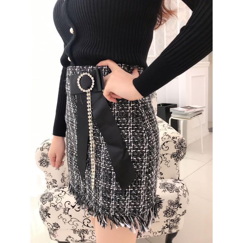 【リボンブローチセット】ツイードショートスカート【冬コーデの定番】【S/Mサイズ】