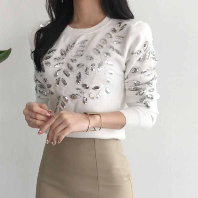 【シンプルで華やか】リーフブライトリングセーター【綺麗なお姉さん】