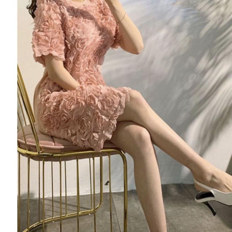 【3月12日まで15%OFF】立体ローズワンピースドレス【写真映え最強】