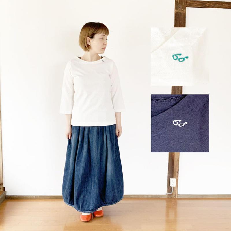 *レディース*grin★グリン★全2色めがね刺繍ボートネックTシャツ(8192C-024)