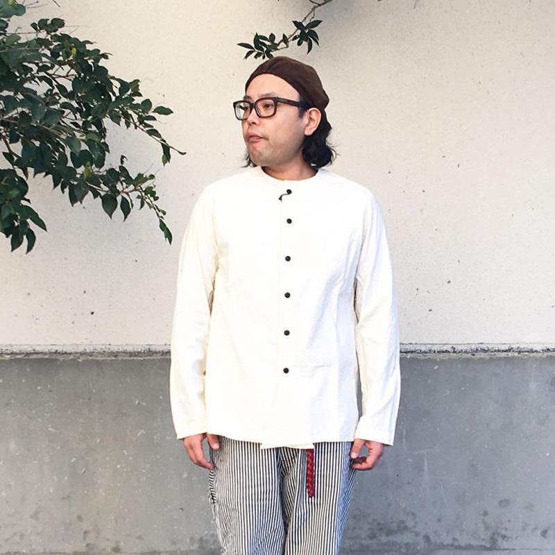 *ユニセックス*DAILY WARDROBE INDUSTRY★SHIRT OPEN CREW NECK クルーネックシャツ(男性着用)