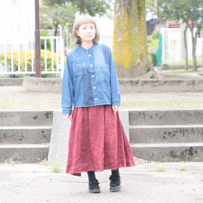 *レディース*clip.tab★クリップタブ★ デニムパッチワークスタンドカラーシャツ(3184T-007)