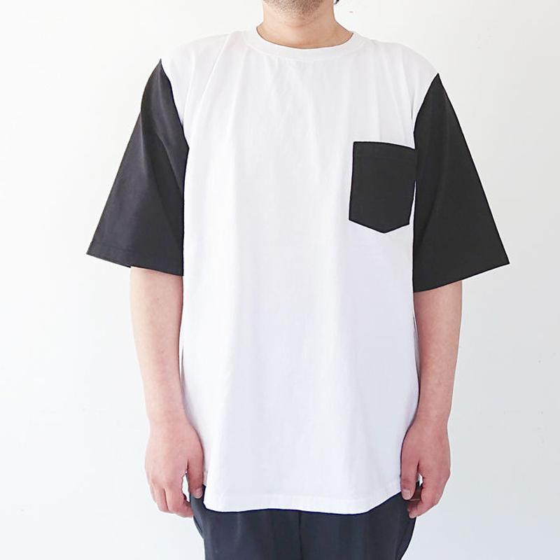 ユニセックス*GOODWEAR★グッドウェア★1/2 SLEEVE COLOR BLOCK POKET TEE 五分袖ブロックパターンTシャツ(ホワイト×ブラック)