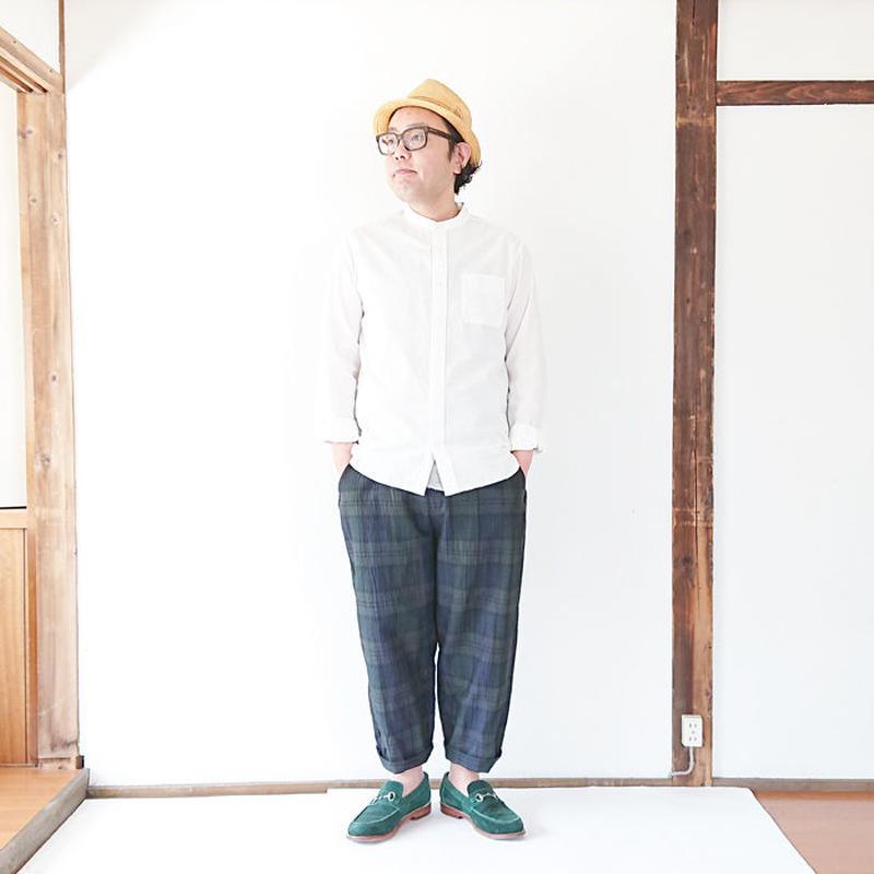 *ユニセックス*KAFIKA-カフィカ-コットンリネンチェックワイドパンツ(kfk167) 男性着用