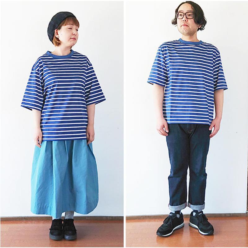 *メンズとレディース*LA MOND.-ラモンド-BORDER TEE 5分袖ボーダーTシャツ/ブルー(LM-C-101)