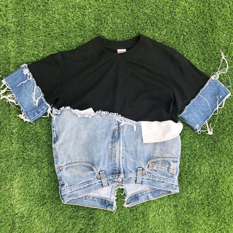 REMAKE Hem Denim Tee  -BLACK -