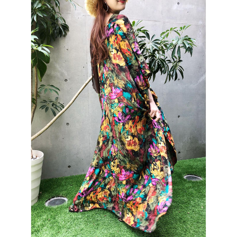 Vintage Flower Poncho Dress