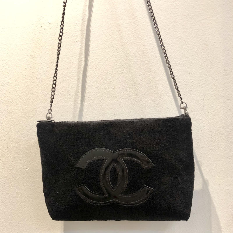 Vintage CHANEL NOVERTY CHAIN PILE BAG/Black&Black