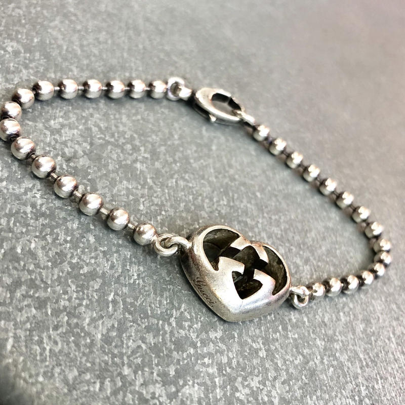 Vintage GUCCI Heart ball chain bracelet