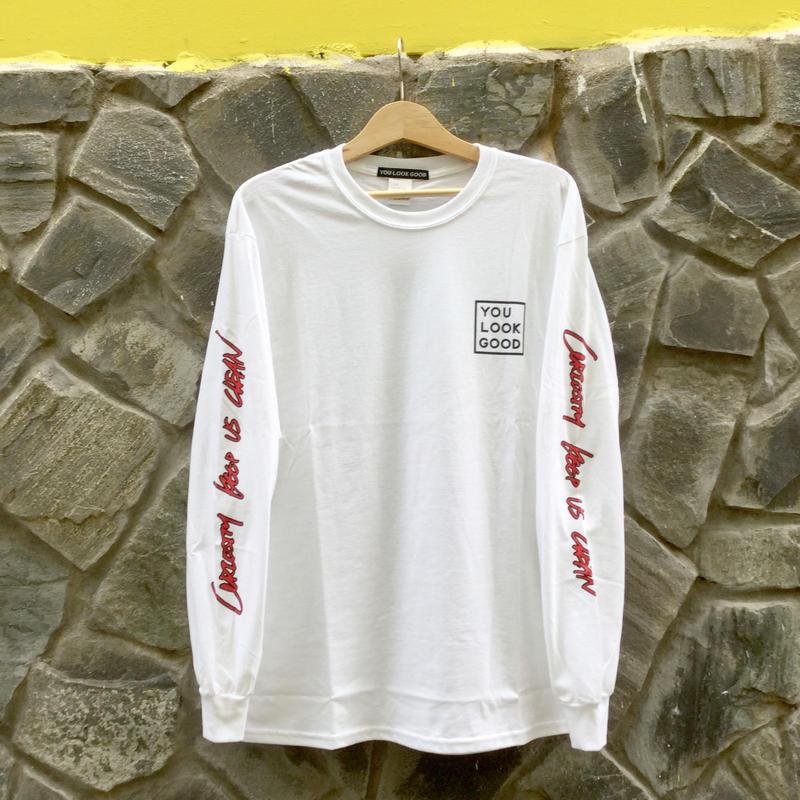 Long Sleeve T-shirt -CURIOSITY KEEP US CLEAN-  White
