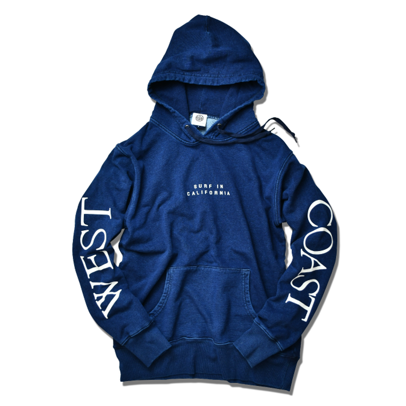 WEST COAST Sleeve Logo hooded sweatshirt【Indigo】