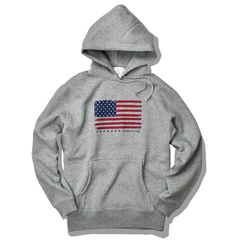 The American flag hooded sweatshirt【Gray】