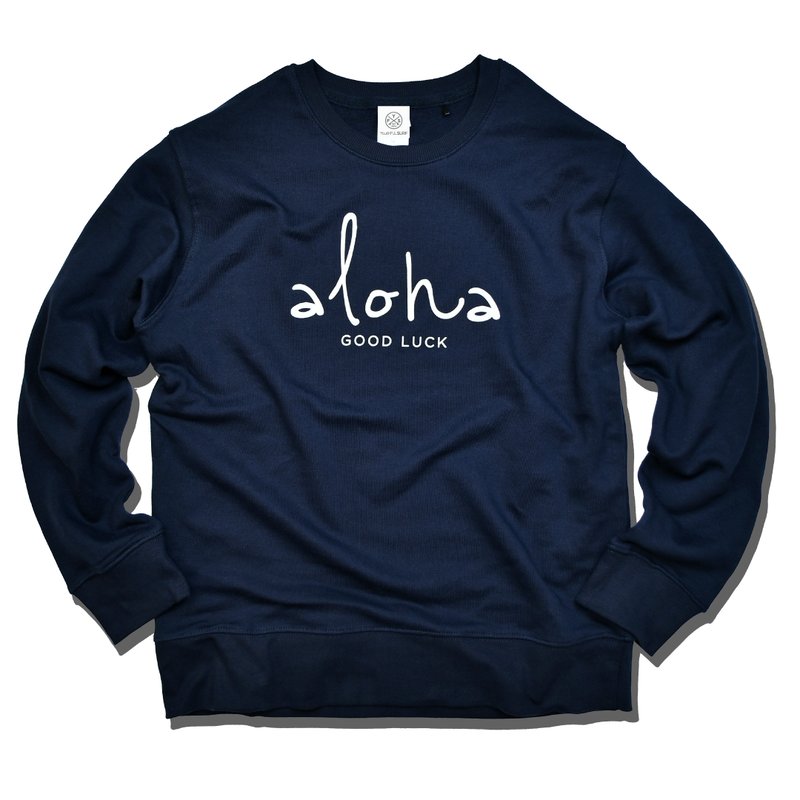 aloha good luck crewneck sweatshirt【Navy】