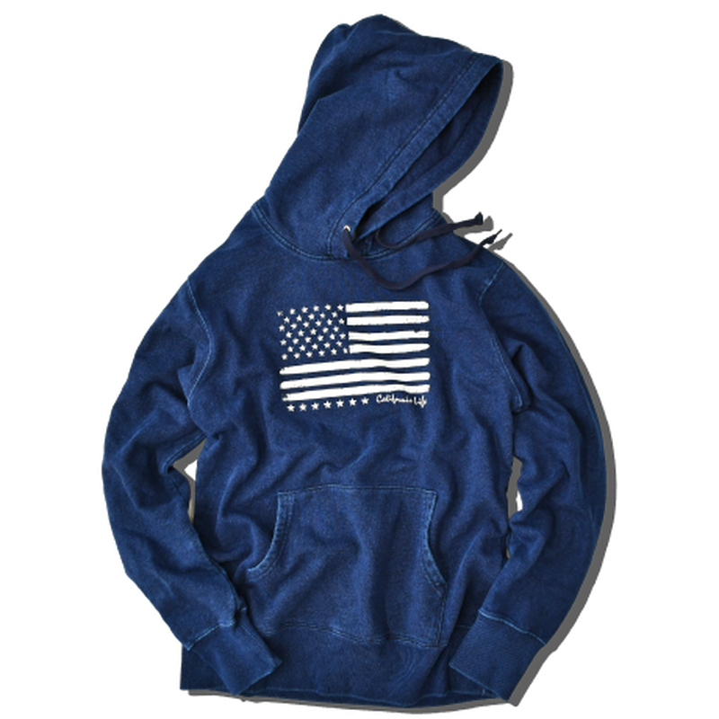 The American flag hooded sweatshirt【Indigo】