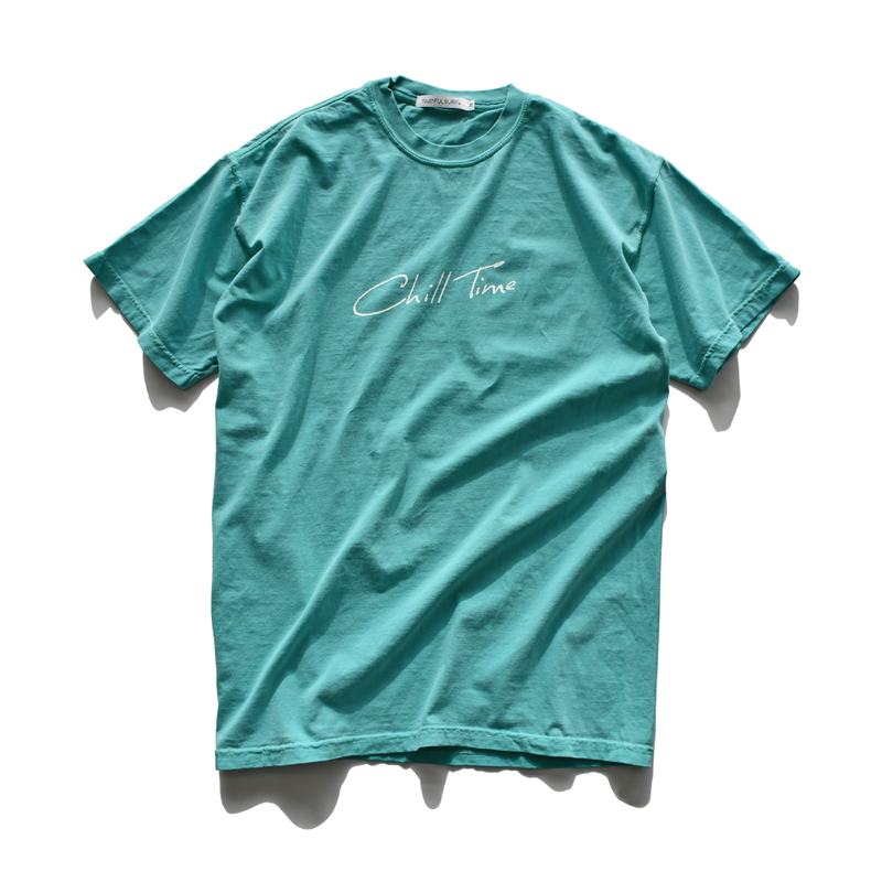 Chill Time Pigment Dyed Tee【Seafoam】