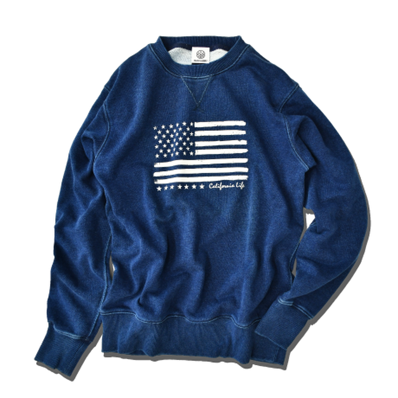 The American flag crewneck sweatshirt【Indigo】