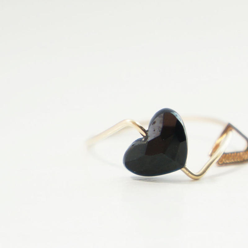 【K10 】 onyx heart ring ・by YouuumuJewelry*