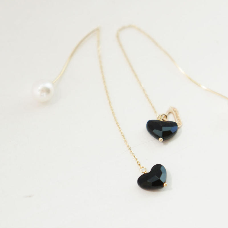 【K10 】 onyx heart pierce ・by YouuumuJewelry*