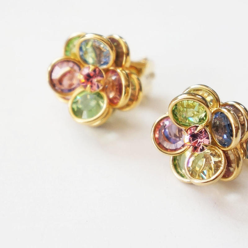 vintage multicolor flower earring PK