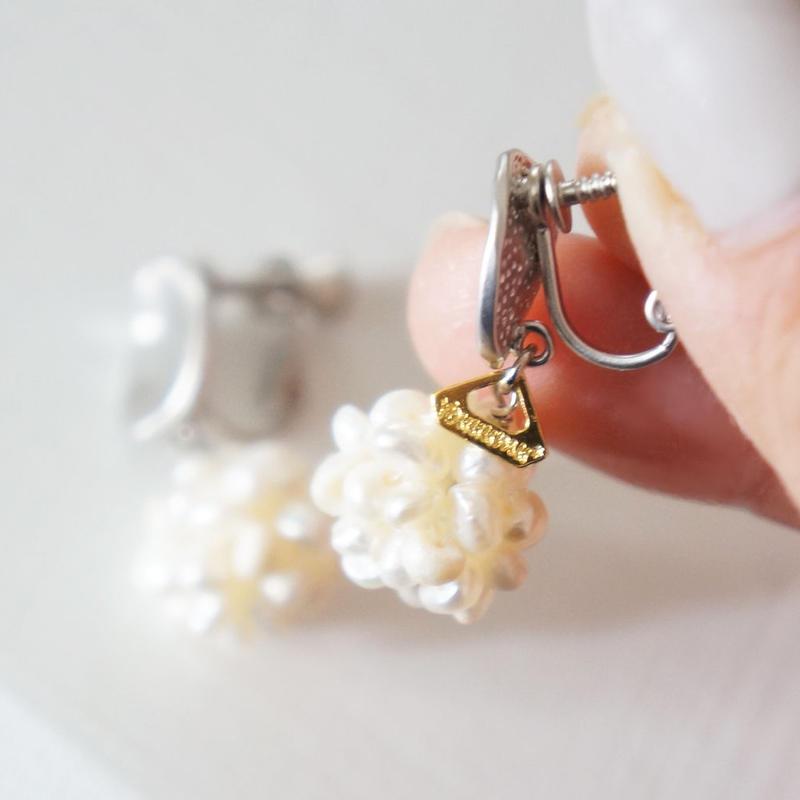 freshwater pearl ball イヤリング