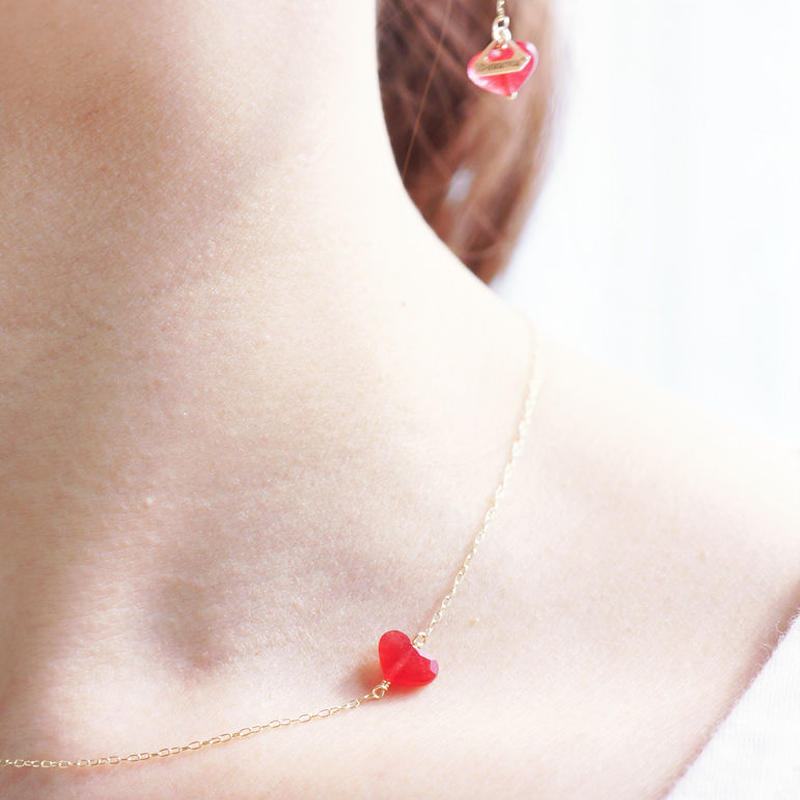 【K10 】 quartz heart necklace ・by YouuumuJewelry*