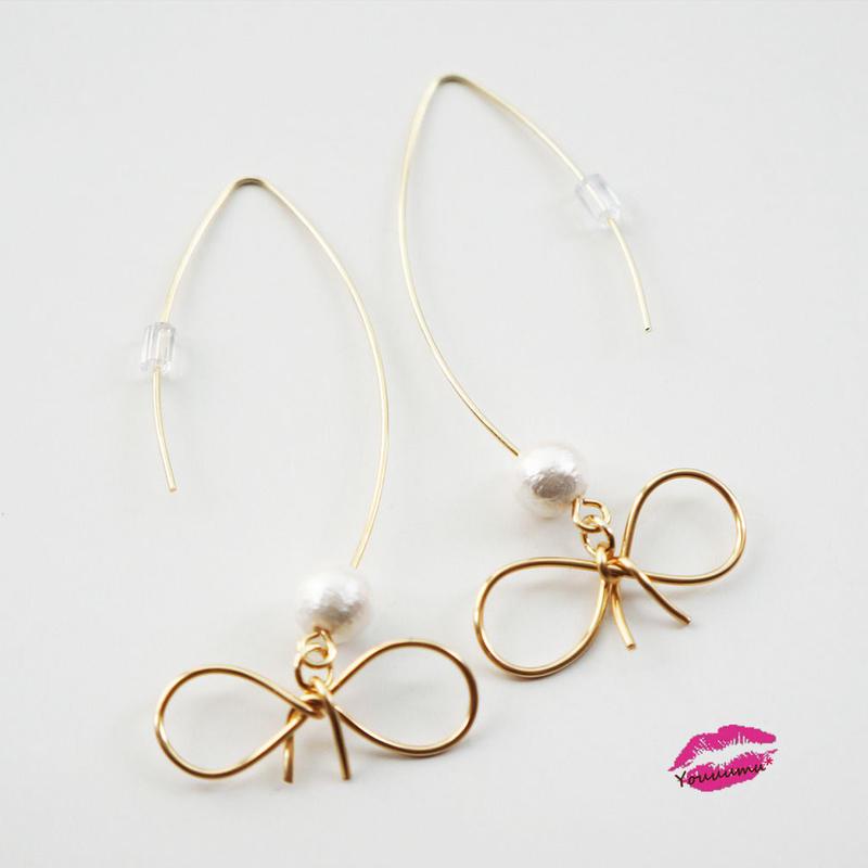 line ribbon&cotton pearl pierce