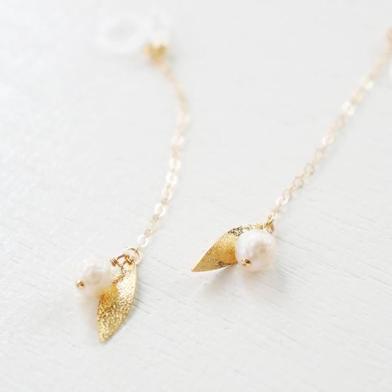 K14gf cut pearl leaf イヤリング