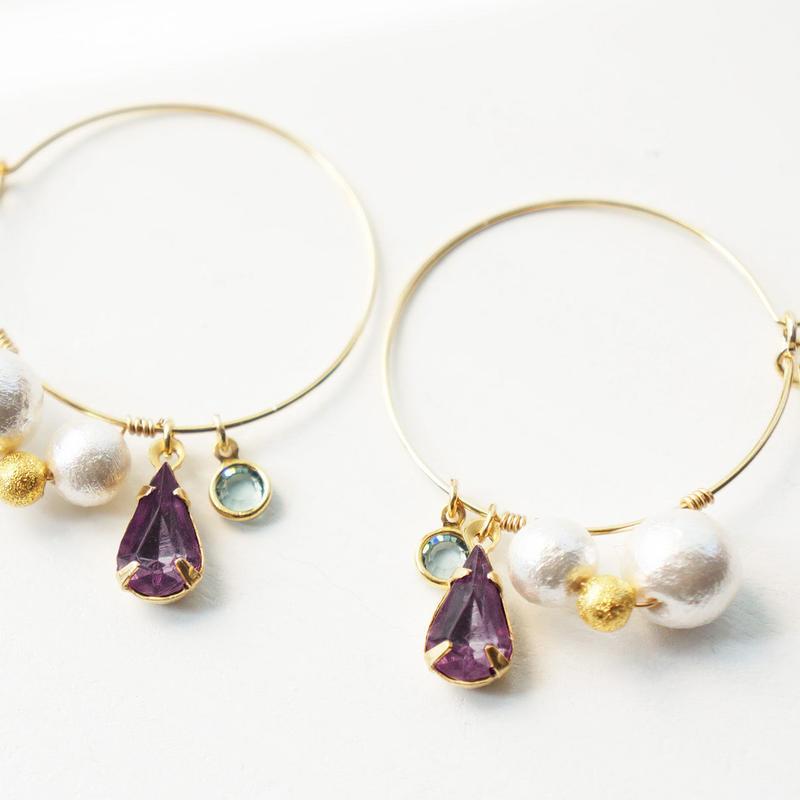 ヴィンテージガラス pierced earrings 03