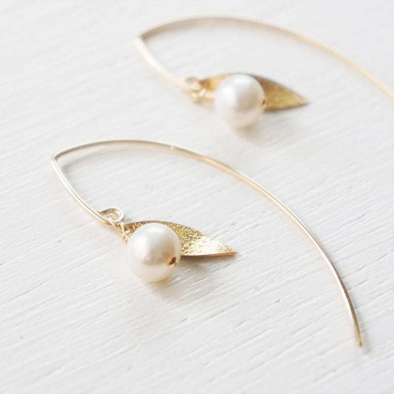 K14gf pearl leaf pierce