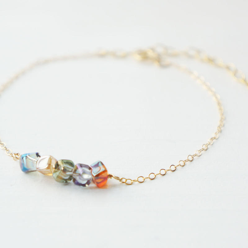 K14gf crystal dice bracelet