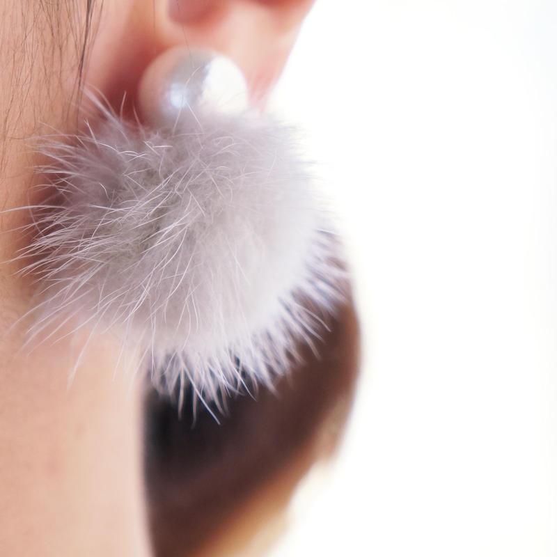 minkfurball earring gray
