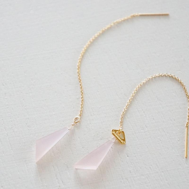 K14gf pink Chalcedony chain pierce