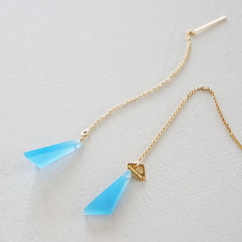 K14gf blue Chalcedony chain pierce