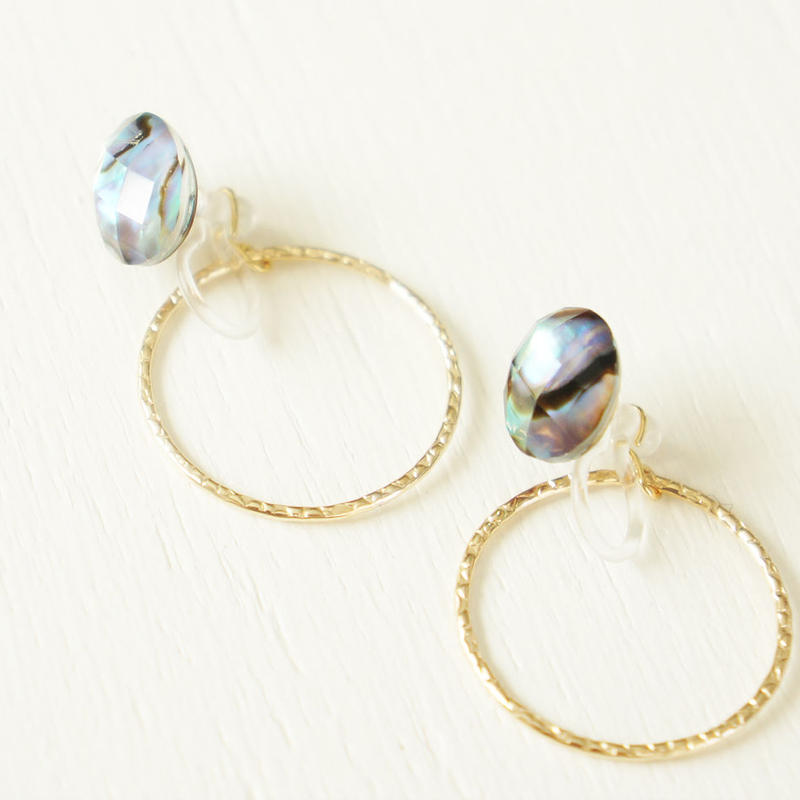 K14gf abalone sell × crystal イヤリング S