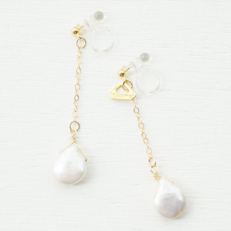 K14gf drop freshwater pearl イヤリング